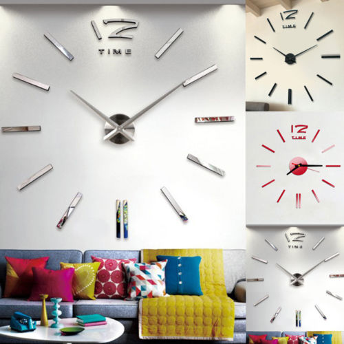 New Wall Clock Modern Design DIY Analog 3D Mirror Surface Large Number Wall Clock Europe Acrylic Sticker Home Decor Dropship