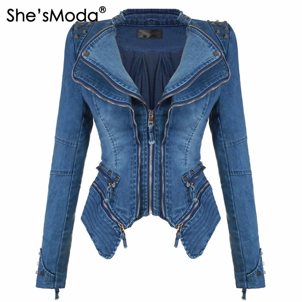 ShesModa Denim Jeans Padded Shoulder Jacket for Women Slim Fit Zipper Winter Coat Moto Biker Leather Jackets Black