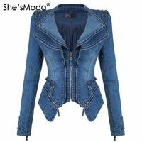She'sModa Denim Jeans Padded Shoulder Jacket for Women Slim Fit Zipper Winter Coat Moto Biker Leather Jackets Black