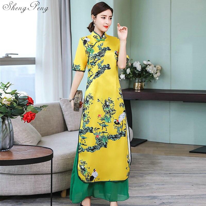 Nouveau vietnam aodai style chinois traditionnel vêtements femmes demi manches chine longue qipao chinois améliorer cheongsam robe V1506