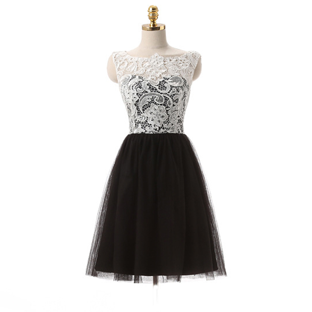 Cheap Black And White Homecoming Dresses Lace Sweet 16 Short Semi