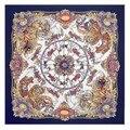 Nuevo Estilo de Otoño Invierno Para Mujer de Moda Bufandas Bufandas Cuadradas 130 Cm * 130 Cm Bufanda de Seda de la Rotación de Los Troyanos Damas bufandas