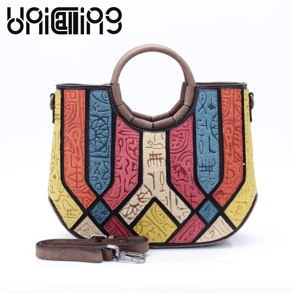 UniCalling Genuine Leather Contrasting thread Oracle women handbag all-match cow leather women bag mini women messenger bags 2017 fashion all match retro split leather women bag top grade small shoulder bags multilayer mini chain women messenger bags