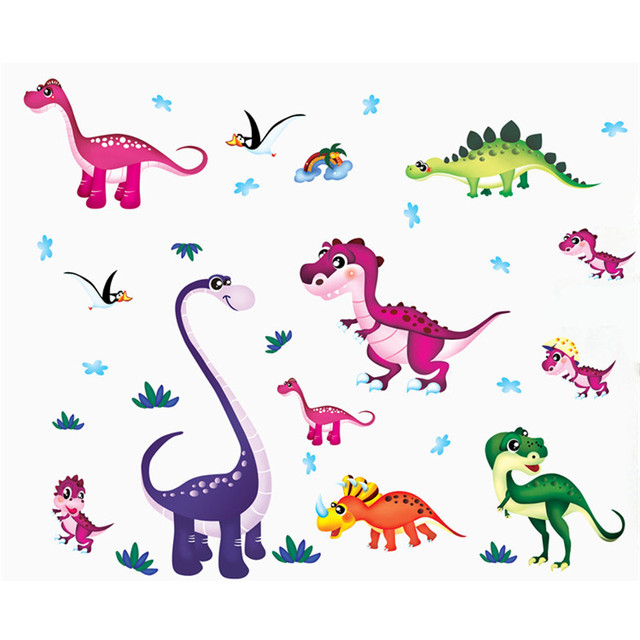 Dibujos Animados Coloridos Dinosaurios Adhesivos De Pared Cuarto De