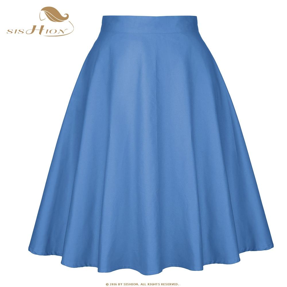 SISHION Skirt Women New Fashion Elegant Sexy Summer Sky Blue Cotton Swing Vintage Casual Skirts High Waist