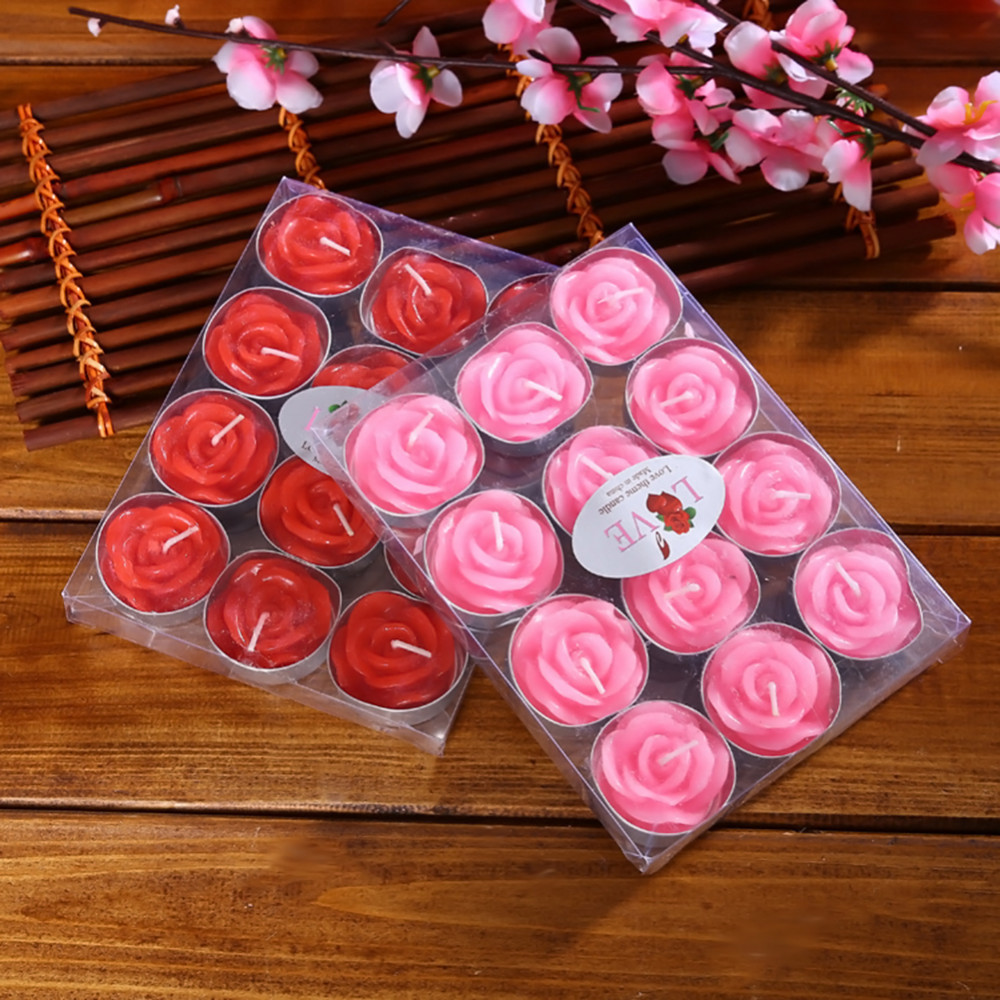 12pcs/set Rose Design Candles Valentine\'s Day Delicate Boxed Red ...