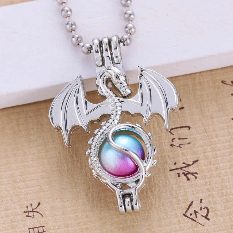 6pcs Silver Plated Boho Dragon Design Trendy Necklace Jewelry Making Pearl Cage Locket Pendant Perfume Diffuser Fun Jewelry Gift