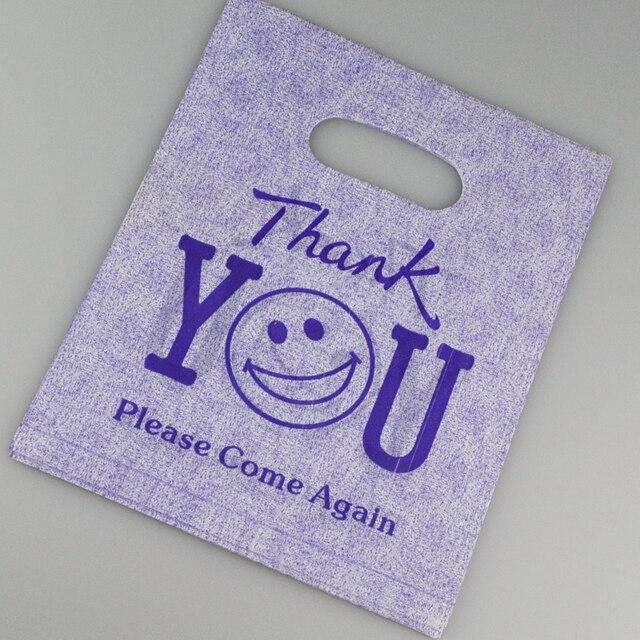 Hot Sale 20x25cm Purple Thank You Design Plastic Jewelry Bag