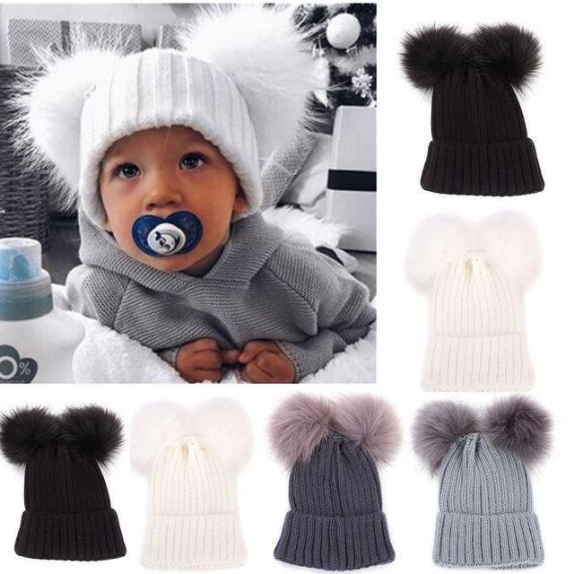 Newborn Kids Baby Winter Warm Hats Baby Boys Girls Pom Hats Cute Ball  Crochet Knit Bobble Beanie Little Kids Caps 97904ef8f2d2
