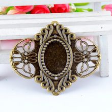 Gratis pengiriman 3 Pcs Antique Bronze Filigree Cameo Bingkai Pengaturan Dekorasi Wraps Connnector DIY Hiasan 6.9x5.6 cm F0428(China)