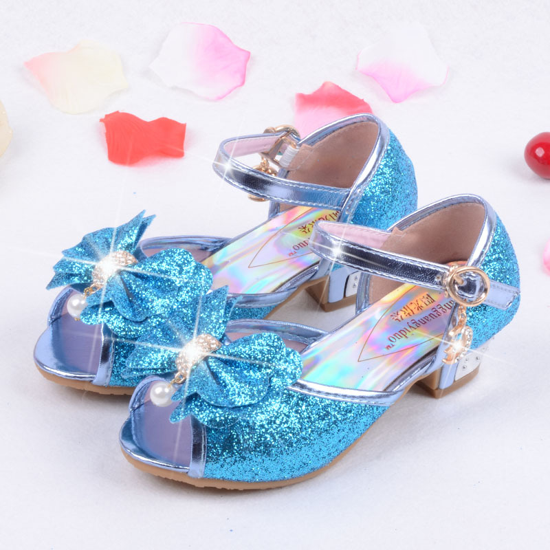 e0831cdad65c3a Children Shoes Girls Sandals High Heels Blue Fashion Sequin Cute Bow Kids  Shoes Girls Shoes For Party and Wedding Princess Shoes