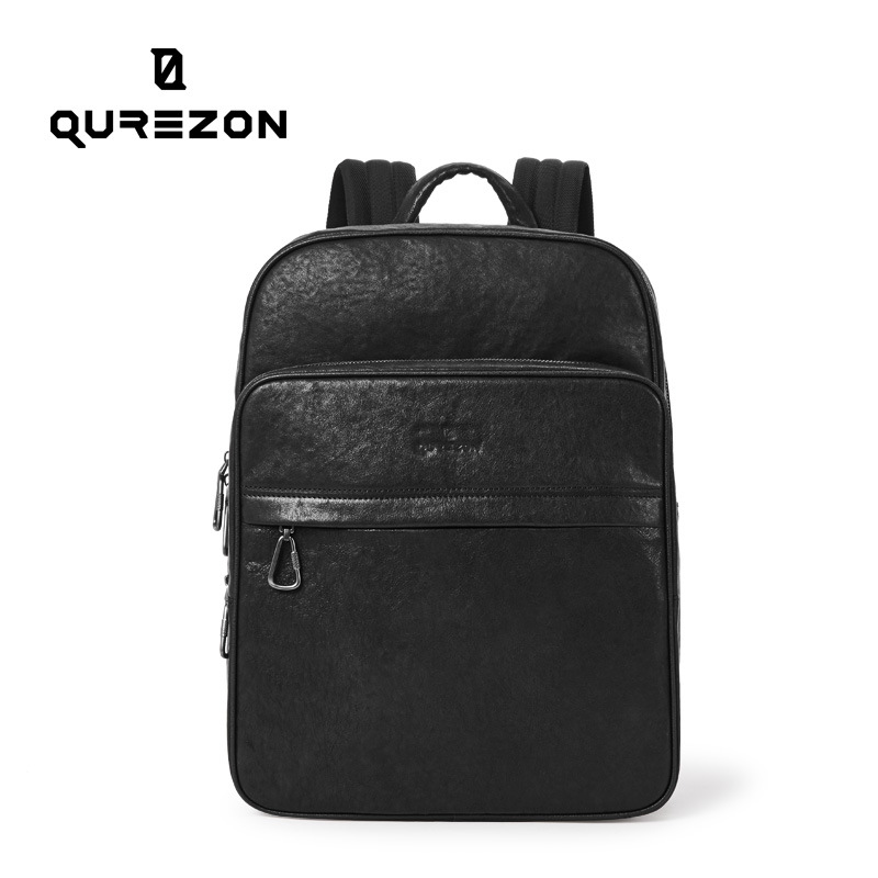 QUREZON Brand Real Genuine Leather Backpack Men 2019 Designer bags High Quality New Casual Black Laptop Bag For Men sac a dosQUREZON Brand Real Genuine Leather Backpack Men 2019 Designer bags High Quality New Casual Black Laptop Bag For Men sac a dos