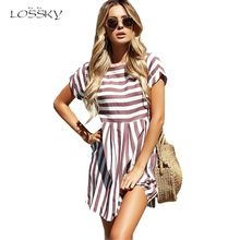 Lossky Women Summer Beach Dress A-Line Striped Short Sleeve O-Neck Print Dresses Casual Pink Mini Style Dress 2019 Sexy Sundress