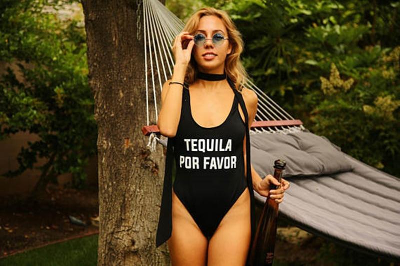 TEQUILA POR FAVOR Funny Letters Women Swim suit Sexy Low Back High Cut Swimwear Bathing Suit Beach One Piece Swimsuits Bodysuit