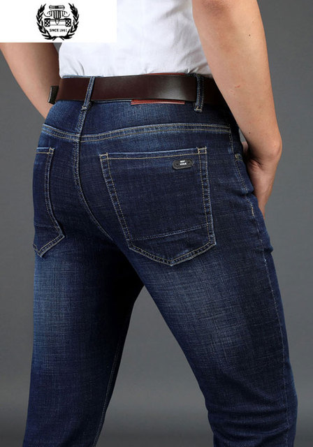 b5fd526d66b 2019 Spring Autumn New Jeans Men s Mid-Rise Soft Breathable Fashion Casual  Men s Straight Pants Zipper Plus Size Drop Shipping