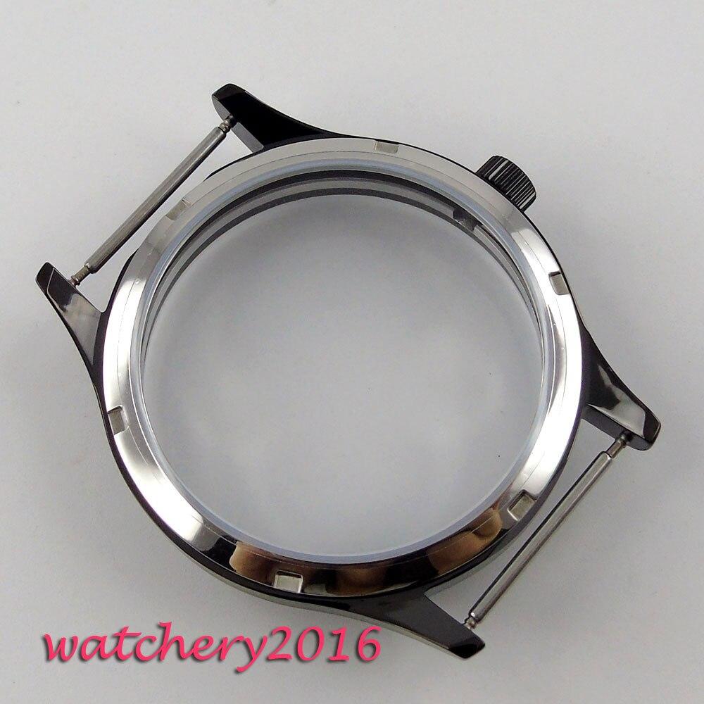 44mm parnis noir PVD montre stérile boîtier fit eta 6498 6497 remontage à la main mouvement hommes-in Boîtiers de montres from Montres    3