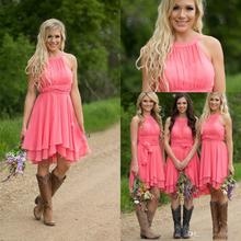 Coral High Low Cheap Bridesmaid Dresses Jewel Neck Chiffon Wedding Guest Dress With Sash Pleats Maid of Honor Gowns  BD150