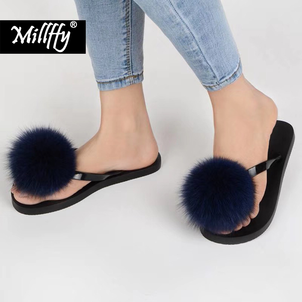 45dc526347226 Millffy large Size 36-43 Hot Women Slippers Fashion Spring Summer Autumn fur  Slippers Women Fur Slides Fur fur ball slippers