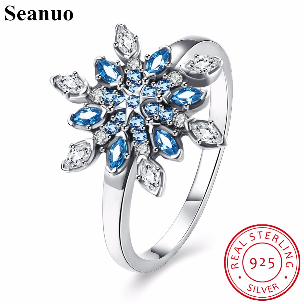 Seanuo Elegant Women Genuine Sterling Silver Blue Zircon Snowflake Party Ring Women Romantic Lady Charm Flower 925 Finger Rings