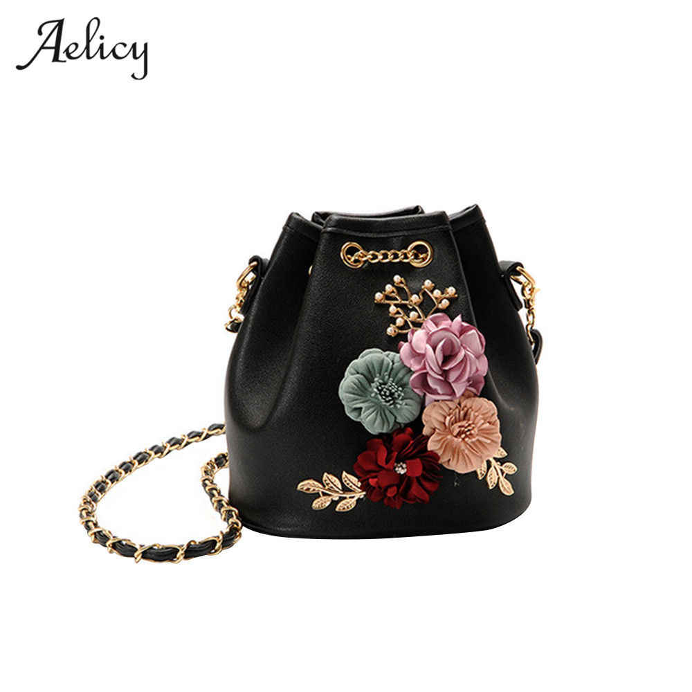 Detail Feedback Questions about Aelicy Handmade Flowers Bucket Mini  Shoulder Bag With Chain Drawstring Small Cross body luxury handbags women  bags designer ...
