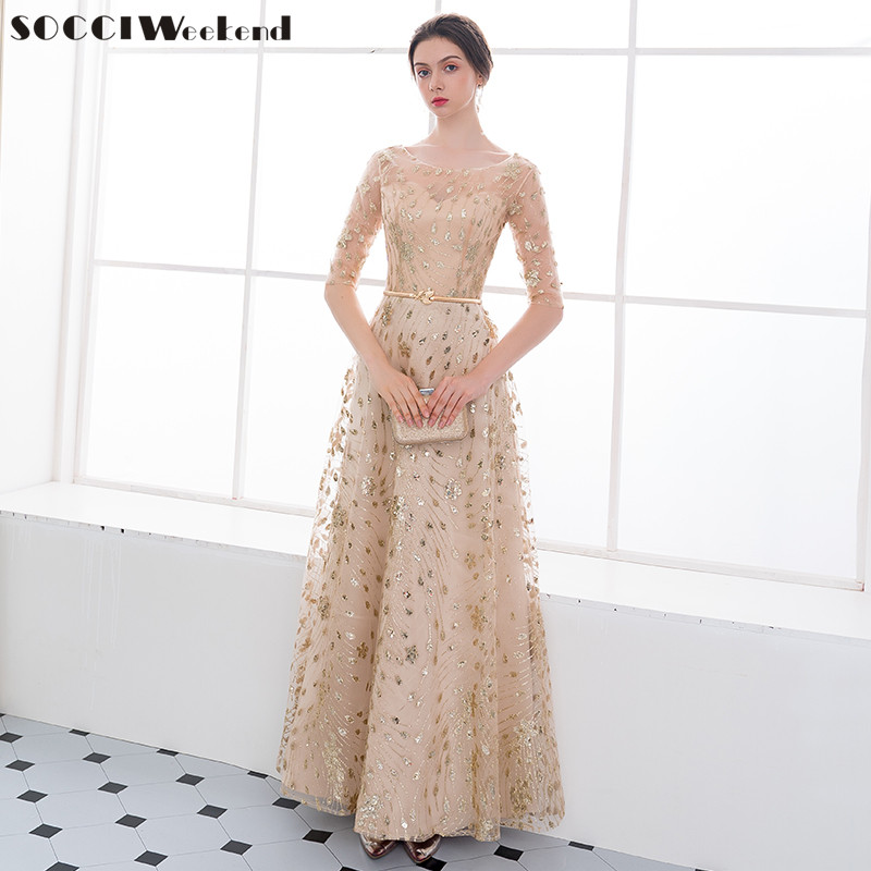 Long   Evening     Dress   SOCCI Weekend New The Banquet Sweet O-neck Half Sleeves Split Lace Up Back Gold Sequined Formal Party Gowns