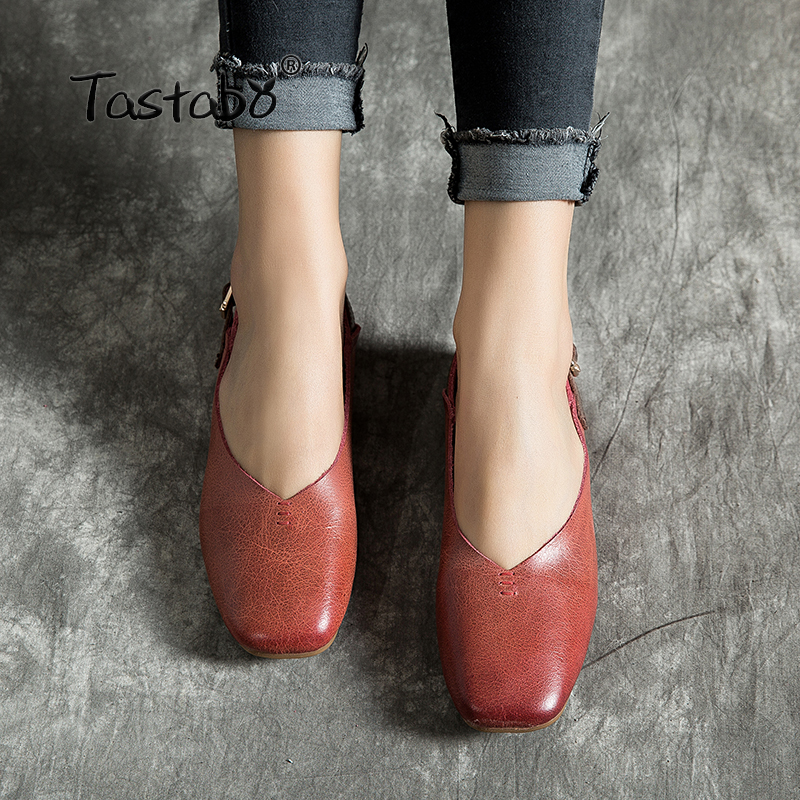 Tastabo Handmade Leather Women's Shoes Solid Color Flats Shoes Comfortable Shallow Mouth Women's Shoes Soft Bottom Shoes