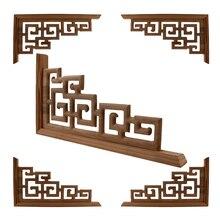 Accesorios de boda para el hogar de estilo chino apliques para muebles tallado en madera esquina Marco de decoración de madera puerta de pared calcomanía de tallado en madera