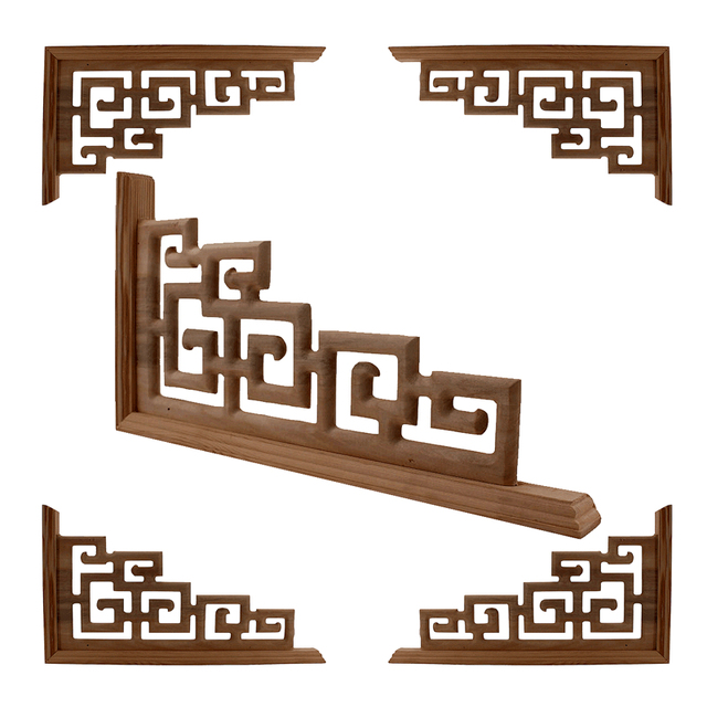 Chinese Style  Home Wedding  Accessories Furniture Appliques Wood Carving Corner Wooden Decor Frame Wall Door Woodcarving Decal