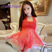 Erotic hot sexy pajamas women 2019 new transparent V-neck lace temptation mini dress exotic style porn