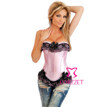 Brand New Body Sculpting Satin Boned Lace up Back Pink Bow Corset Basque Woman Burlesque Corsets And Bustiers With Suspenders