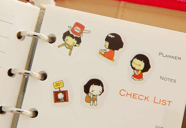 5 piezas chica kawaii etiqueta engomada del pvc organizador calendario libro diario planificador Scrapbook decoración diario etiqueta papeleria
