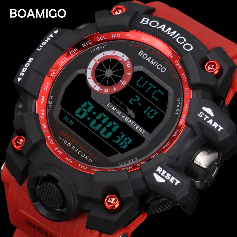 BOAMIGO brand UTC DST time raise to wake led light men digital sport red military watches 50m swim waterproof rubber band clock novelty run around wake up n catch me digital alarm clock on wheels white 4 aaa