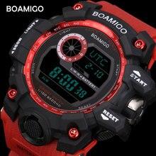 BOAMIGO marca UTC time DST elevar a wake hombres de luz led relojes militares 50 m de natación a prueba de agua digital deportivo rojo banda de goma reloj