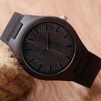 Casual Nature WoodBamboo Genuine Leather Band Strap Wrist Watch Sport Novel Creative Men Women Analog Relogio