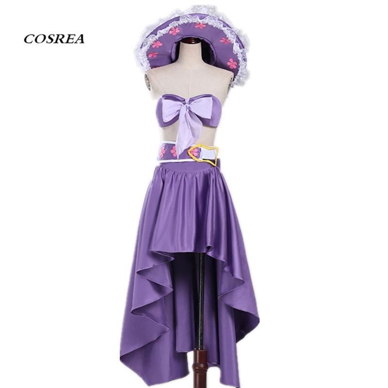 COSREA One Piece Anime Nico Robin  Cosplay Costume Woman  Summer Purple Sexy Beach Hawaii  Dress  Cosplay for  Girls And Women