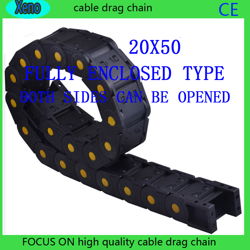 20x50mm 10Meters Fully Enclosed Type Reinforced Nylon Wire Carrier For CNC Route Machine 25x75 10meters fully enclosed type reinforced nylon engineering kable chain for cnc route machine