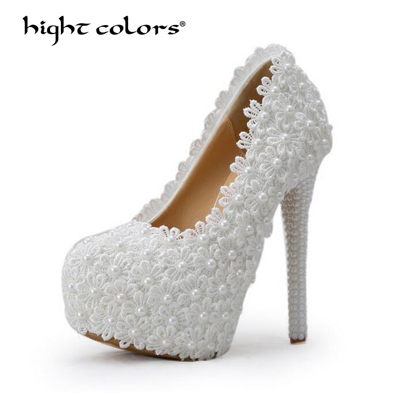 6cm/8cm/11cm/14cm Women Fashion Sweet White Pumps Flower Lace Platform High Heels Pearls Wedding Shoes Bride Dress Shoes H887 carollabelly sweet flower women pumps high heels lace platform pearls rhinestone wedding shoes bride dress shoes summer sandals