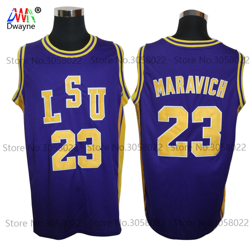 цена на Dwayne Mens #23 Pete Maravich Pistol LSU College Cheap Throwback Basketball Jersey Retro Jerseys Vintage Basket Embroidery Shirt