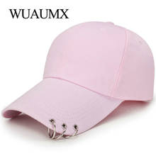 Wuaumx Fashion Baseball Caps With Rings Women's Summer Hat Trucker Cap For Men Outdoor Sport Snapback Cap Unisex Casquette homme(China)