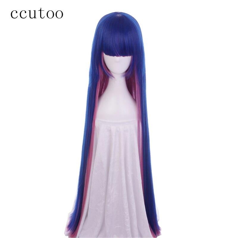 Ccutoo 120 см чулок Синий Розовый микс прямо без каблука Синтетические чёлки волос Синтетические волосы Косплэй парик Хэллоуин cos Искусственные...