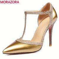 MORAZORA 6 Cores do tamanho 34-45 moda de nova mulheres cinta T bombas pontas do dedo do pé de verão 10 cm stiletto sapatos de salto alto sexy sapatos de casamento mulher