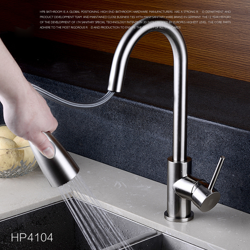 High Quality 360 Degree Swivel Spout Brushed Nickle Brass Hot cold Pull Out Kitchen Faucet Mixer