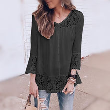Women Autumn Tops For Women 2019 Casual V-Neck Patchwork Blouse Women Lace Top And Blouses Three Quarter Black White Blouse(China)