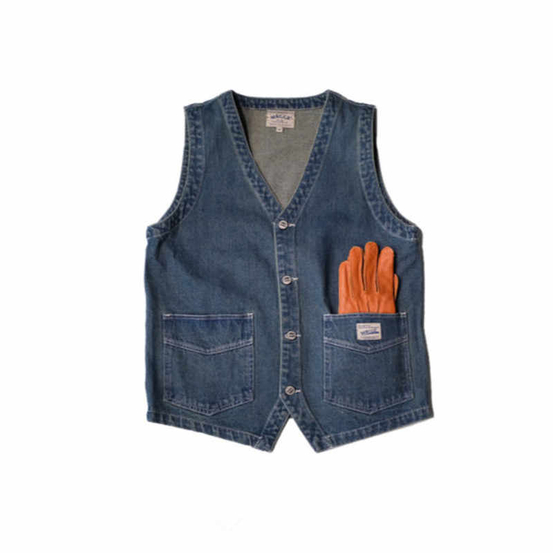 Japan Style Mens Spring  Vintage Denim  Vest  Multi Pocket Cargo Vests  Single Breasted Jeans Vests Jacket Waistcoat  Ds50302