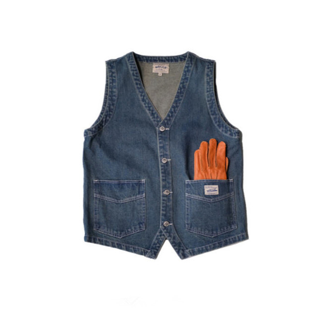 سترات رجالية نمط اليابان الربيع خمر سترة جينز متعددة جيب سترات البضائع واحدة الصدر الجينز سترات سترات صدرية Ds50302