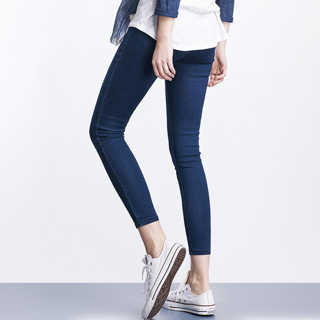 LEIJIJEANS 2019 Spring And Summer Plus Size Mid Elastic Waist Stretch Ankle length mom Jeans for Women Skinny Pants Capris Jeans 2