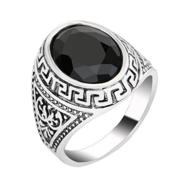 Fashion Aros Silver Plated Black Resin Red Natural Stone Rings Vintage Punk Carter Wedding Retro Ring For Women Fine Jewelry