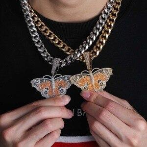 Image 5 - Nuovo Full Iced Out Ali di Farfalla Del Pendente Della Collana Con 12 millimetri Catena Cubana Oro Argento di Colore Hip Hop Catena di Fascino gioielli