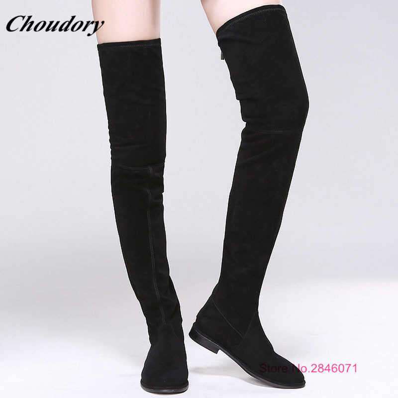 Choudory Sexy Fashion Platform Women Winter Boots Round Toe Back Ziper Over The Knee Boots Black Thigh High Boots Botines Mujer choudory botines mujer black thigh high boots square heel round toe zip over knee high boots fashion motorcycle booties women