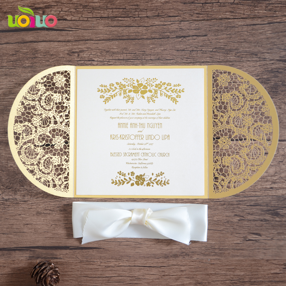 Luxurious White Pearl Paper Wedding Invitation Card Manufacturer
